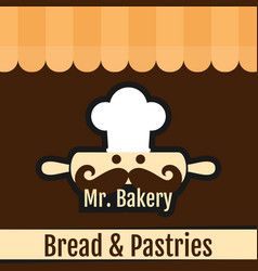 Mr bakery bread pastries background vector