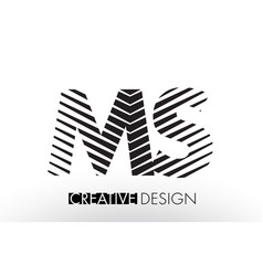 Ms m s lines letter design with creative elegant vector