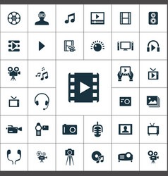 multimedia video icons universal set for web and vector image