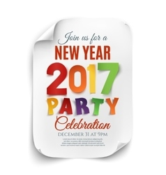 New Year party poster template isolated on white vector