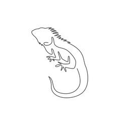 one single line drawing exotic iguana vector image