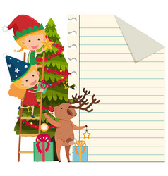 Paper template with kids decorating christmas tree vector