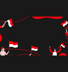 People hold indonesian flag red white celebrate vector