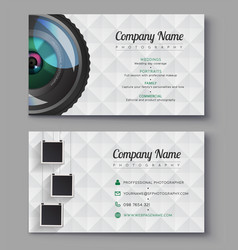 Photographer business card template design for vector