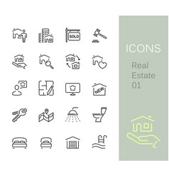 Property outline icons set vector