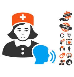 Psychotherapist nurse talking icon with lovely vector