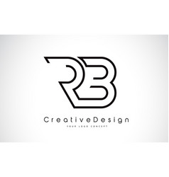 Rb r b letter logo design in black colors vector