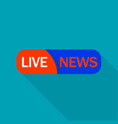 red live news logo flat style vector image