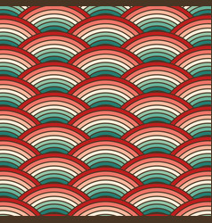 retro colorful summer 70s curved rainbow stripes vector image