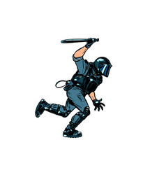 riot policeman attacks with a baton police work vector image