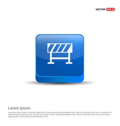 road barrier icon - 3d blue button vector image