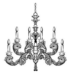 Rococo rich chandelier vector