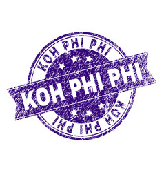 Scratched textured koh phi stamp seal vector