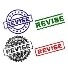 Scratched textured revise stamp seals vector
