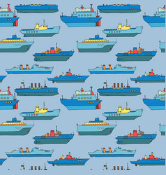 seamless pattern with cartoon ships vector image