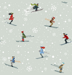 Seamless skiing vector