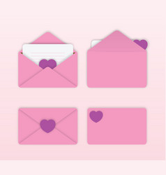 set lovely pink envelope with cute heart vector image