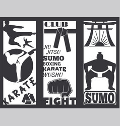 Set of cool fighting club brochure fight cards vector