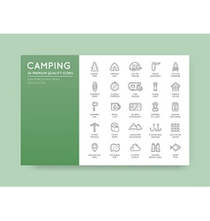 Set of Thin Hunting Camping Sport Elements can be vector image