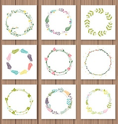 Set with floral wreaths template for wedding vector