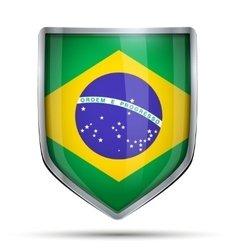 Shield with flag Brazil vector image