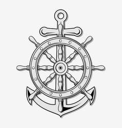 Ship wheel and anchor vector