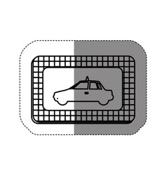 Silhouette border taxi side car icon vector
