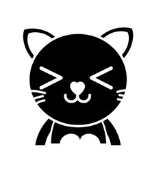 Silhouette happy cat adorable feline animal vector