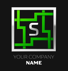 silver letter s logo symbol in the square maze vector image