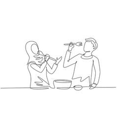 single one line drawing romantic arabian couple vector image