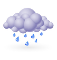 single weather icon - bubble cloud with rain vector image