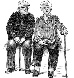 sketch a couple old spouses resting on a vector image