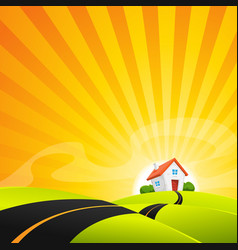 Small house in summer sunrise landscape vector