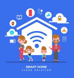smart home internet things iot family with vector image