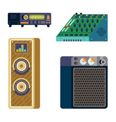 stereo audio systems record studio icons vector image