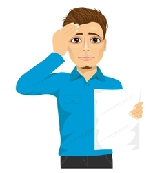 Student disappointed about his own test results vector