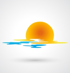 sunset and sea waves icon vector image