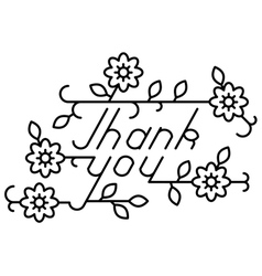 Thank you lettering with floral elements vector image
