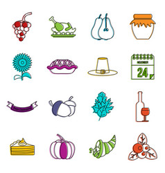 Thanksgiving icons doodle set vector