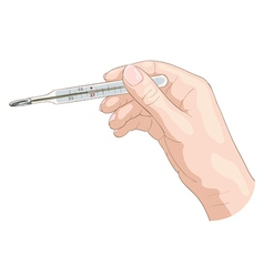 The hand holds a thermometer vector