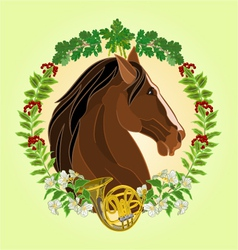 The head dark brown Horse leaves and french horn vector
