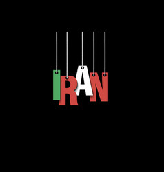 The word iran hang on the ropes vector