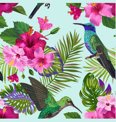 Tropical seamless pattern hummingbirds flowers vector