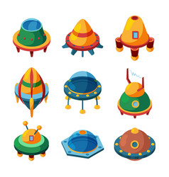 Ufo and spaceships isometric icons vector