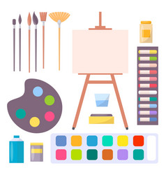 Various art supplies set isolated vector