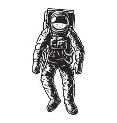 Vintage monochrome astronaut concept vector