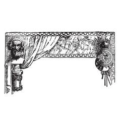 War banner showing ancient greek battles vintage vector