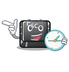 with clock button esc in shape mascot vector image