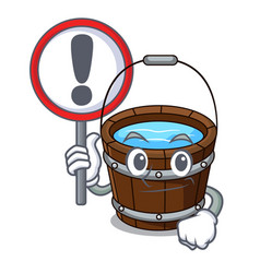 With sign wooden bucket character cartoon vector