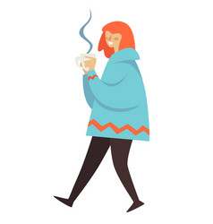 Woman wearing warm clothes walking and drinking vector